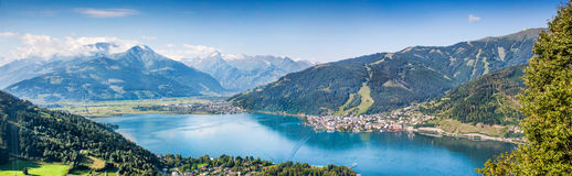 Panoramic view of Zell am See, Austria Stock Images