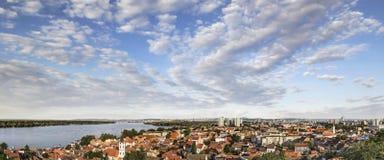 Panoramic View of Zemun Town with River Danube and Belgrade Metropolis Skyline Royalty Free Stock Image