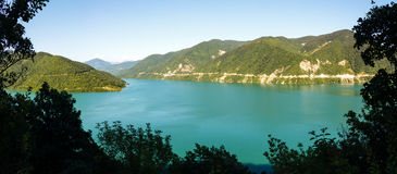 Panoramic view of the Zhinvali reservoir Royalty Free Stock Photo