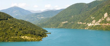 Panoramic view of the Zhinvali reservoir Royalty Free Stock Image