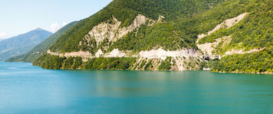 Panoramic view of the Zhinvali reservoir Stock Photo