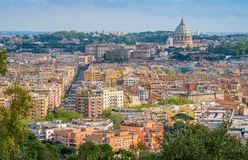 Panoramic view from the Zodiaco Terrace in Rome with Saint Peters Basilica. Rome, italy. royalty free stock photo