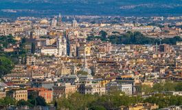 Panoramic view from the Zodiaco Terrace in Rome with Trinità dei Monti. Rome, Italy. royalty free stock photo