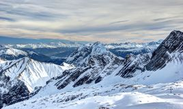 Panoramic view from the Zugspitze. Royalty Free Stock Photo