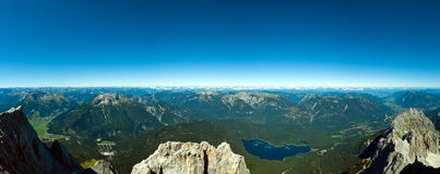 Panoramic View Zugspitze German Austrian Boarder Stock Photos