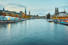 Panoramic view of Zurich and Limmat River Stock Photos