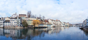 Panoramic view of Zurich old town Royalty Free Stock Image