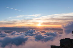 Panoramic views of the Alps in the sky Stock Photos