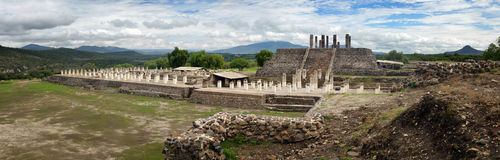 Panoramic views of the ancient Toltec ruins in the city of Tula. Royalty Free Stock Photos