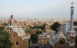 Panoramic views of Barcelona from Park Güell designed by Gaudi in Spain Stock Image