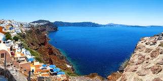 Panoramic views of Bay of Caldera of Oia, Santorini, Greece Stock Photos