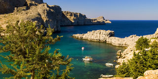 Panoramic views of a Bay on the island of Rhodes. Panorama of the bay. Greece. The island of Rhodes Stock Image