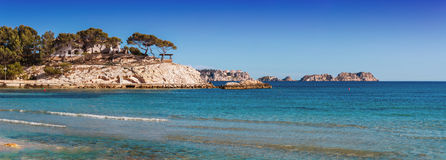 Panoramic views of the Bay of Paguera. With a sandy beach and azure waters, Mallorca, Spain royalty free stock photos