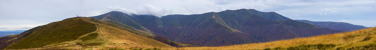 Panoramic views of the beautiful landscape in Carpathian mountains Stock Images