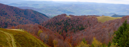 Panoramic views of the beautiful landscape in Carpathian mountains Royalty Free Stock Images