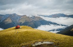 Strength above the clouds. Panoramic views of Brewster Hut, a lonely hut above the clouds Stock Photo