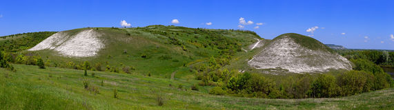 Panoramic views of the chalk hills in the central part of Russia Stock Image