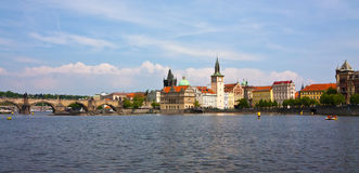 Panoramic views of the Charles Bridge Royalty Free Stock Images