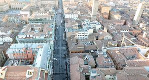 Panoramic views of the city of Bologna from the  highTower Stock Images