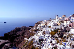 Panoramic views of the city. From the fortress Oia Royalty Free Stock Photo