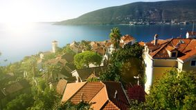 Panoramic views of the coast and of rooftops of the old town of Herceg Novi in Montenegro royalty free stock photo