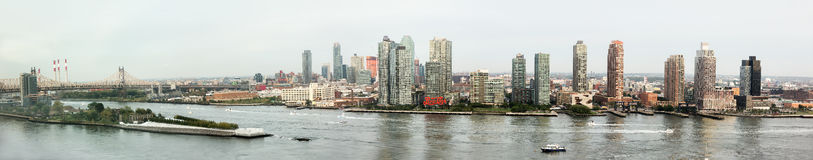 Panoramic views of East River from United Nations Building Stock Images