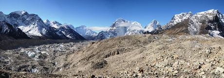 Panoramic views of the Everest ridge Royalty Free Stock Image