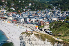 Panoramic views of famous village d'Etretat August 27,2013 Stock Photo