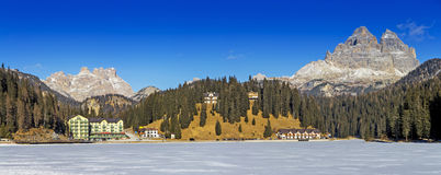 Panoramic views of the frozen lake Misurina and Tre Cime Royalty Free Stock Images