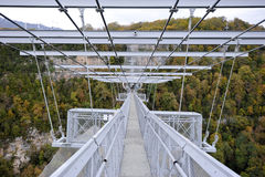 Panoramic views of the gorge with the world's longest suspension footbridge Stock Images