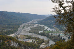 Panoramic views of the gorge with the world's longest suspension footbridge Stock Photo