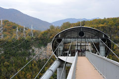 Panoramic views of the gorge with the world's longest suspension footbridge Stock Photos