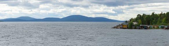 Panoramic Views of the Khibiny mountains. Photographed on lake. Imandra, Kola Peninsula, Russia Royalty Free Stock Photography