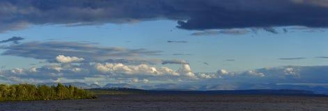 Panoramic Views of the Khibiny mountains. Photographed on lake. Imandra, Kola Peninsula, Russia Royalty Free Stock Image