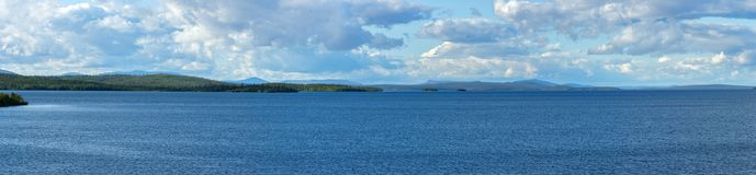 Panoramic views of the Khibiny mountains. Photographed on lake. Imandra Stock Image