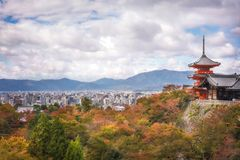 Panoramic Views of Kyoto in autumn from Kiyomizu-dera Temple, Japan. Panoramic Views of Kyoto, Japan, in autumn from Kiyomizu-dera - Iconic Buddhist temple on royalty free stock image