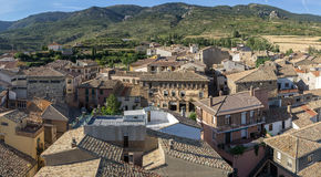 Panoramic views of Loarre, Aragon, Huesca, Spain from the top, the Castle of Loarre background Stock Photography