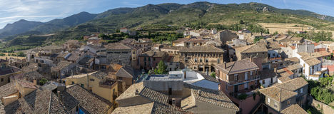 Panoramic views of Loarre, Aragon, Huesca, Spain from the top, the Castle of Loarre background Royalty Free Stock Photography
