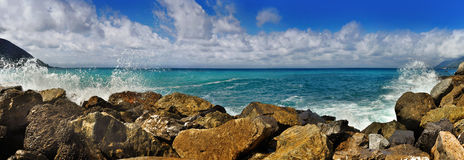 Panoramic views of the Mediterranean Sea with stones Royalty Free Stock Photo