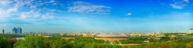 Panoramic views of Moscow from vorobevy Hills Stock Images