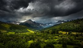Panoramic views of Mt. Sneffels and the Dallas Creek drainage ar royalty free stock photography