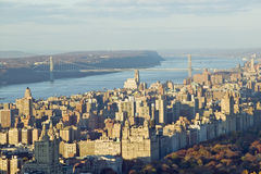 Panoramic views of New York City and Hudson River at sunset looking toward Central Park from Rockefeller Square �Top of the Rock Royalty Free Stock Image
