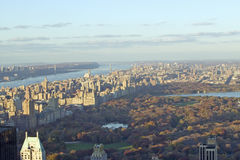Panoramic views of New York City and Hudson River at sunset looking toward Central Park from Rockefeller Square �Top of the Rock Stock Images