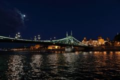 Panoramic views of night bridges through Danube with illumination. Massive support of bridges I create the special atmosphere royalty free stock photo
