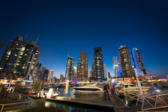Panoramic views of the night skyscrapers in Dubai Royalty Free Stock Photography