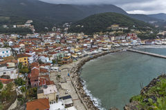 Panoramic views of Parga town, Epirus Stock Image