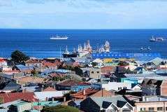 Punta Arenas, Panoramic views with houses and see, Chile Royalty Free Stock Photos
