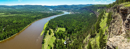 Panoramic views of the river Irkut Royalty Free Stock Images
