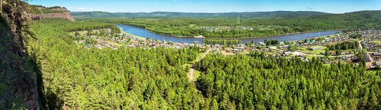 Panoramic views of the river Irkut Stock Photo