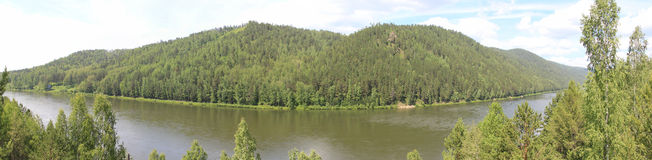 Panoramic views of the river and the taiga Royalty Free Stock Photo